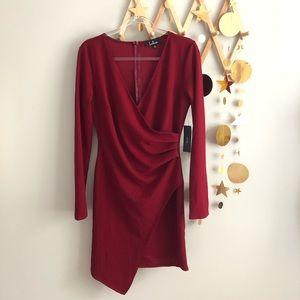 NWT lulus burgundy mini wrap dress